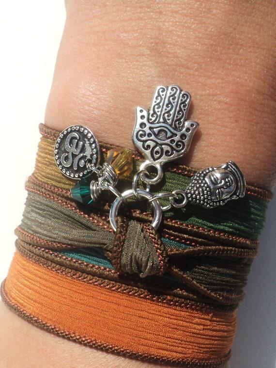 Hamsa Buddha Om Silk Wrap Bracelet Jewelry Namaste Evil Eye Yoga Anklet Necklace Brown Orange Fall Autumn Unique Gift Under 50 Item Z41