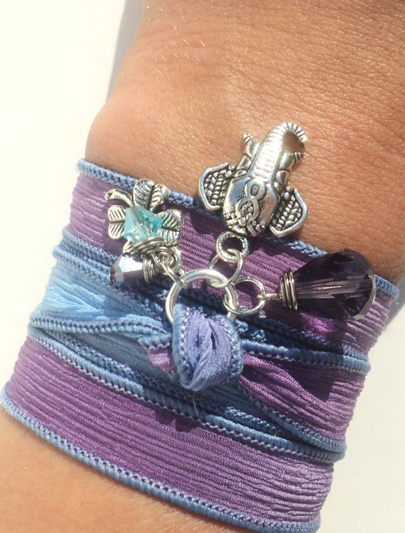 Bohemian, Silk Wrap, Bracelet, Sacred, Elephant, Yoga, Jewelry, Purple, Good Luck, Gift For Her, Anklet, Necklace, Earthy, Unique, Item Z51