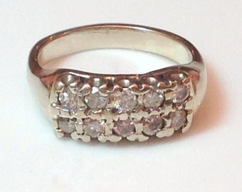 18k DIAMOND ETERNITY RING - Solid White Gold Setting - Double Row of High Quality Natural Gemstones - Real Sparklers