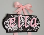 Small Bow and Headband Holder Personalized Damask