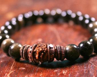 Prayer Beads Men's Size Wrist Mala Meditation Mantra Bracelet Rudraksha Gold Sheen Obsidian Beaded Mens Bracelet Yoga Jewelry Spiritual