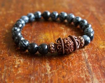Men's Wrist Mala, Prayer Beads, Meditation, Mantra Bracelet, Rudraksha, Snowflake Obsidian