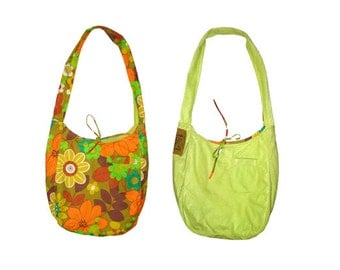 SALE !!! Large reversible hobo bag with pockets. Vintage floral print and bright green velour. Upcycled recycled repurposed, festival bag