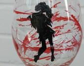 Zombie Wine Glass Girl - Hand Painted Wine Glass