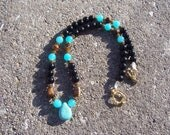 Reserved for Christine - Turquoise, Black Onyx, Blue Jade and Gold Tiger Eye OOAK - 18 inches