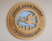 Personalized Wooden Birth Announcement Wall Medallion