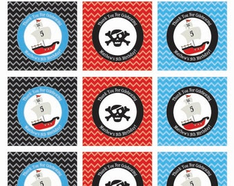 Pirate Party Favor Tag, Personalized , Party Printable Favor Labels or Cupcake Toppers