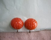 Vintage Carved Butterscotch Bakelite Earrings - Screw-Back - Nice Condition