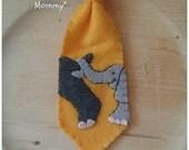 Kids Accessories: Yellow Boys Neck Tie, Felt Tie, Clip On Tie, Elephant, by Interactive Wearables