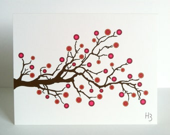 Nature Theme Note Card with Branches Tree Branch with Berries Card Brown Red Orange Pink  Stationery Branches Natural Greeting Cards