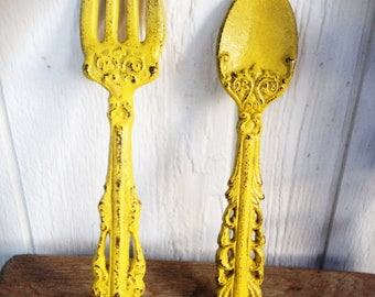 BOLD sunny canary yellow KITCHEN wall decor // ornate fork and spoon wall art // cottage country shabby chic // french country vintage