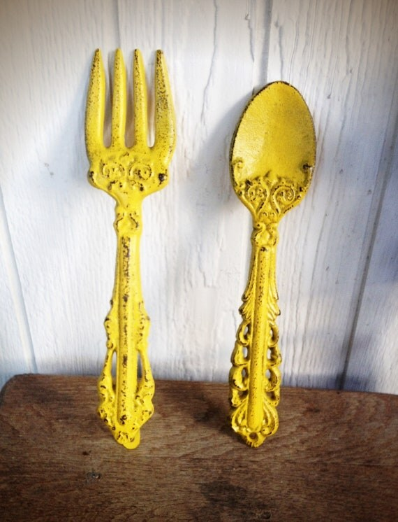 Bold sunny canary yellow kitchen wall decor ornate fork and for Wall decor for yellow walls