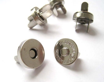 14mm Silver Magnetic Snaps Closures - Pack of 10sets
