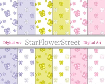 Butterfly Digital Paper, butterflies, soft, purple, pale, pink, lime, green, white, patterned, baby, girl, diy, baby shower, invitations