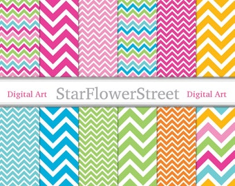 Instant - Chevron Digital Paper Scrapbook Background bright colors pink blue turquoise lime green scrapbooking 8.5x11 85x11 summer party
