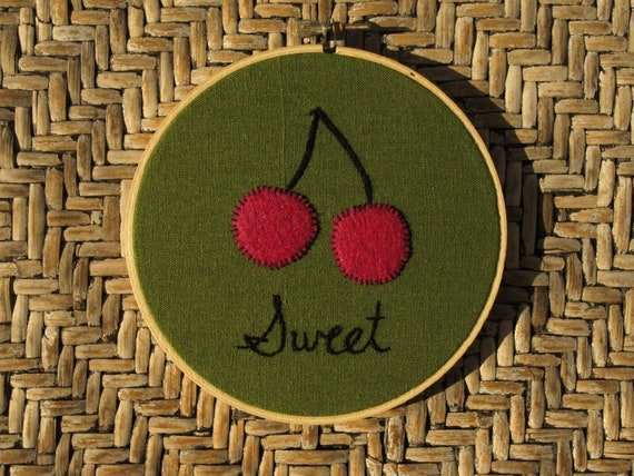"Hand embroidered cherries felt applique wall art ready to hang in 5"" wooden embroidery hoop"