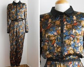 Handmade Stylish Jumpsuit made with Vintage Fabric / Spanish Style / Floral Printed / Contrast Black seams / Vintage Clothing / Size M