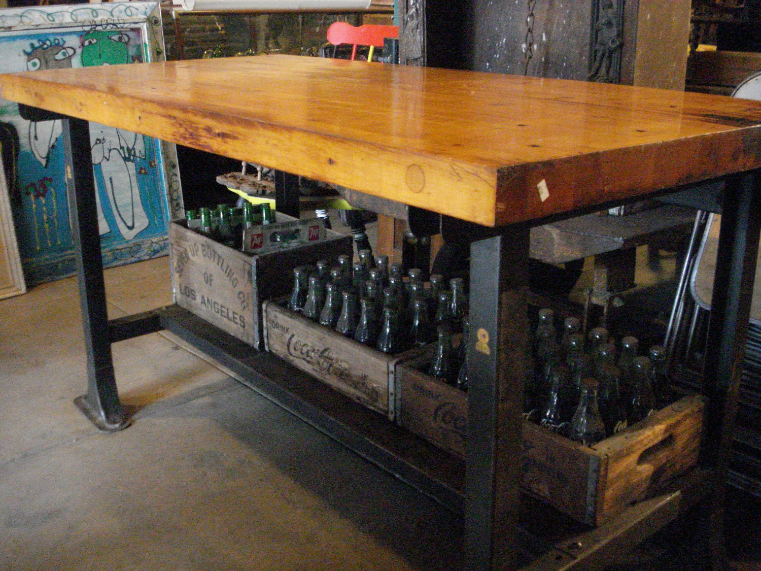 Etsy your place to buy and sell all things handmade vintage and supplies - Industrial kitchen island for sale ...