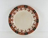 "vintage arklow pottery 9"" plate.Irish pottery. Wicklow. Green,Blue,Red,Gold.White.1930,1940's"