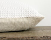 Solid White Lumbar Pillow Cover - Cream Oblong Decorative Pillow - Waffleweave - Basketweave - 12x24 Pillow Cover - White Bolster Pillow