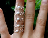Love Ring - Silver Wire and Pearl 'Love' Word Ring - Set of Five - Mother's Day Gift - Bridesmaid Gift - Adjustable or Fixed Size