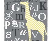 CUSTOM LISTING: ABC Giraffe in Gray and Yellow Chevron