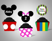 Character Inspired Cupcake Wrappers & Toppers - Personalized With Name and Age