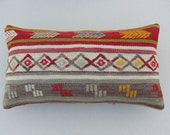 Old Lumbar Pillow Kilim Pillow Cover Bolster Pillow Wool Handmade Decorative pillow 20.5 x 11   old turkish pillow cottage pillow