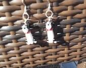 Boston Terrier Dog Lamp Work Bead Earrings, Boston University Mascot