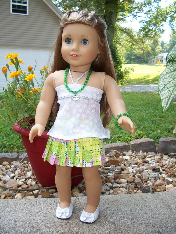 American Girl Doll Clothes--Pleated Skirt and Bandeau Top w Jewelry