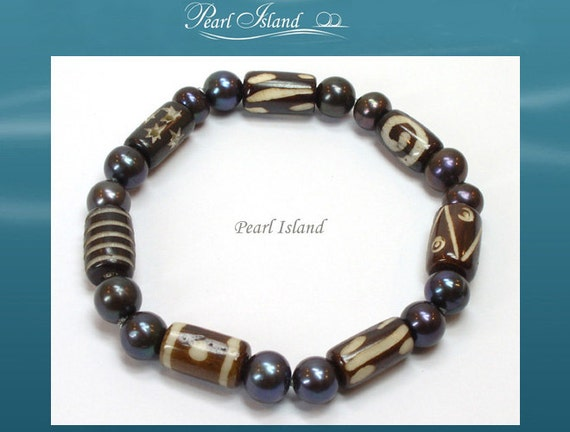 mens pearl jewelry items similar to pearls for black pearl with batik 4777