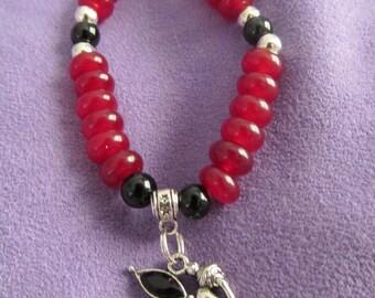 Ruby, Onyx and Black crystal Fairy charm bracelet