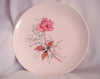 Dinner Plate Canonsburg Pottery Vintage Royal Rose 1950s Mid Century Modern Retro Vintage Wedding