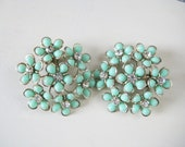 RESERVED for Michele Vintage Teal Earrings with Rhinestone Accents