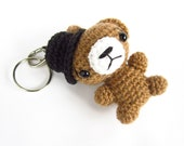 RESERVED for Courtney - Teddy bear keychain - Crochet - Alpaca and wool blend - Tan