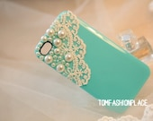 Pure handmade hard pearl lace iphone 5 case iphone 4 case iphone 4s case iphone cover