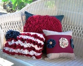 Patriotic Americana Pillow Trio - discount - custom colors available - 4th of July red white blue - SewMuchSpirit