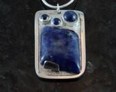 Sodalite and sapphire fine silver pendant