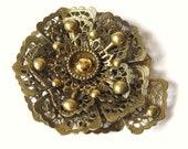 NOUVEAU 1900s Antique Gold Filigree Floral Dress Scarf NE New England Glass Works Dress Fur Clip..Edwaridan Steampunk Gothic Downton Abbey