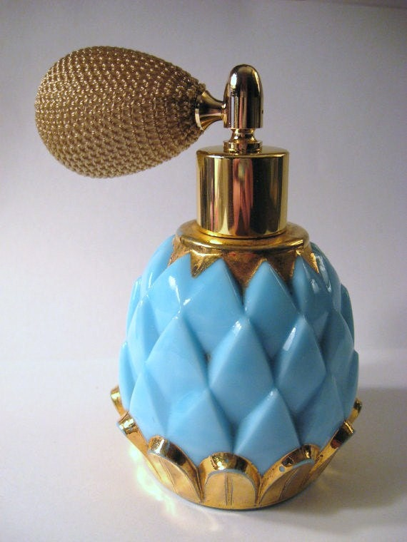 Art Deco 1940s DEVILBISS Turquoise Blue & Gold MILK GLASS Artichoke Perfume Bottle...Brass Atomizer..Hollywood Regency