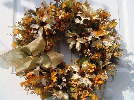 Black eyed susan wreath, fall wreath, autumn wreath, front door wreath, wreaths