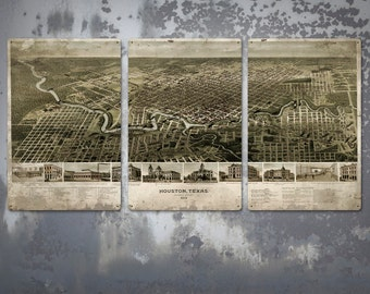 "Vintage Map of Houston Texas on METAL Triptych 48""x24"" FREE SHIPPING"