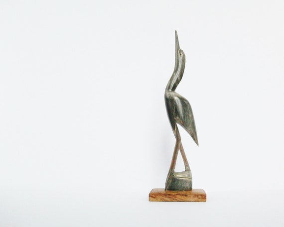 Crane Vintage Bird Figurine Heron or Stork Horn Carving with Wooden Base
