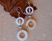Elegant  Fun Natural Shell Earrings, Dangle Earring, Handmade, Beaded, Glass Beads, Millefiori Bead