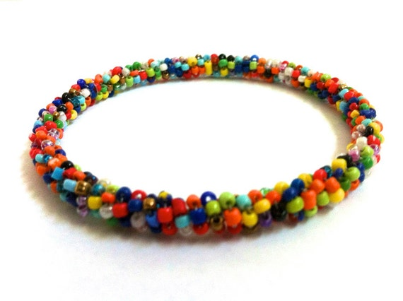 Handmade bangles with natural handpicked beads in assorted colors, gifts for her, bead bracelet