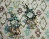 Antiqued Blue-Green Bronze and Crystal Earrings