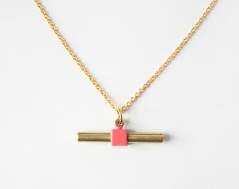 Geometric cube bar necklace -Peach-