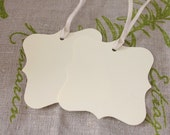 fancy square - tags - set of 2 - ivory