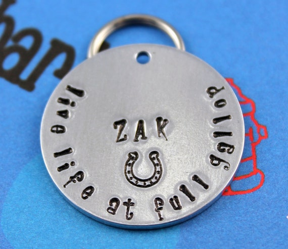 Horse Tag - Custom Metal Horse Halter Tag - Handstamped ...