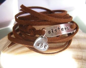 SISTERS bracelet, stamped wrap bracelet, gift for sisters, faux suede cord wrap bracelet, gift for soul sister, initials bracelet